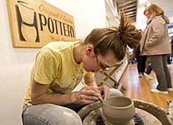 Heidi Clayton at her potters wheel