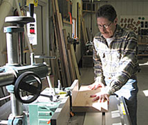 Tom Laudin in his woodworking studio