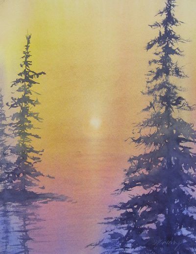 Peg Ginsberg watercolor of pine trees