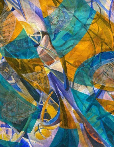 ©Sarah Gerg artwork of blues and yellows