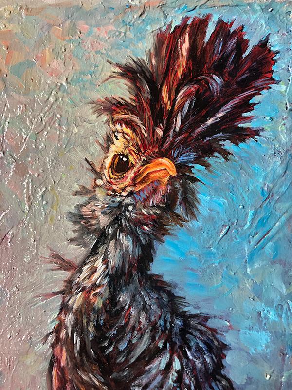 oil painting detail of chicken by S.V. Medaris