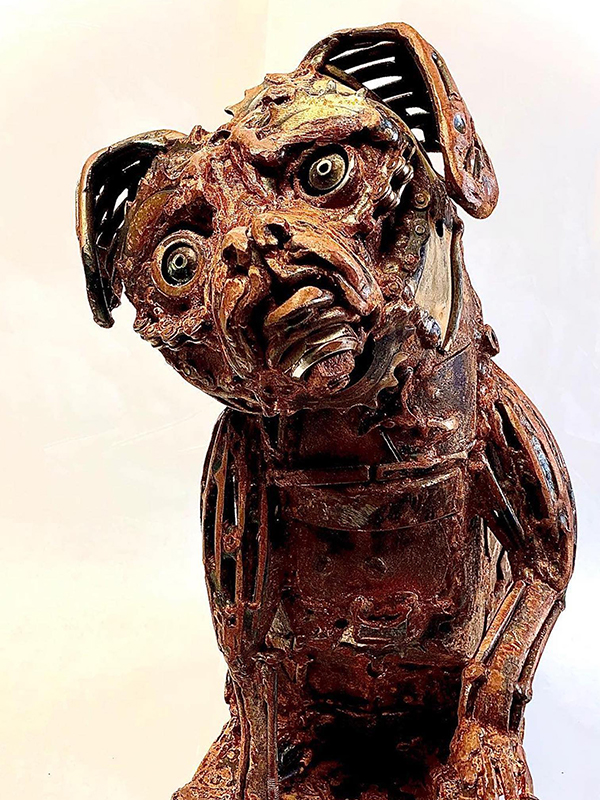 Sculpture of dog Lulu by John Pahlas