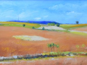 Jane Varda, Geometry and Blue Mounds, oil