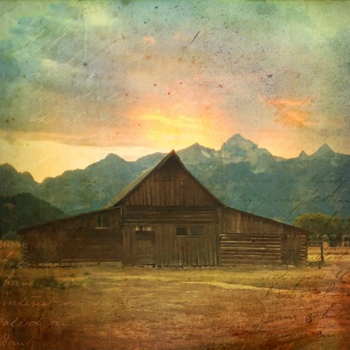 Aileen Musa, hand-colored photograph, old western building in front of mountains