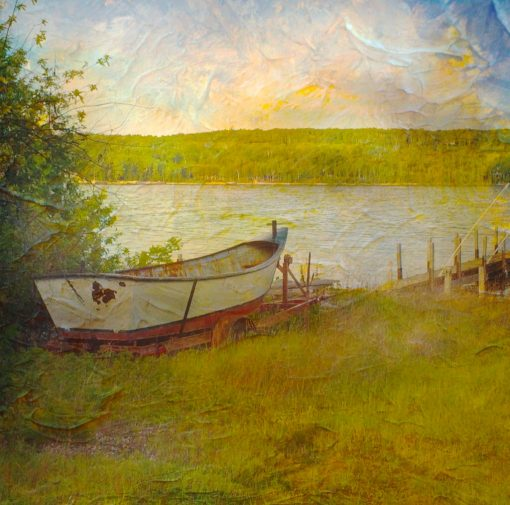 Aileen Musa, handcolored photograph of boat at water's edge
