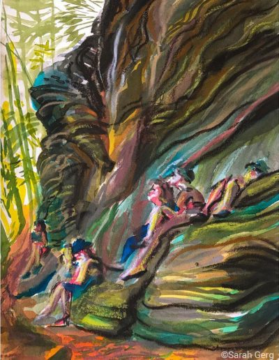 people and rocks, painting by Sarah Gerg