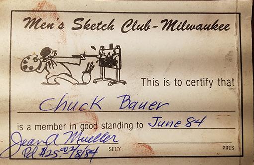 Chuck Bauer, membership card for Men's Sketch Club-Milwaukee
