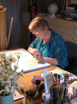 Tamlyn Akins at work in her studio