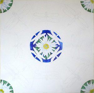 The mandala design taking shape, work in progress, watercolor by Tamlyn Akins