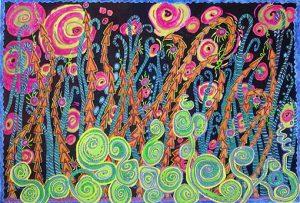 Sarah Aslakson 'Fireworks Dream' oil