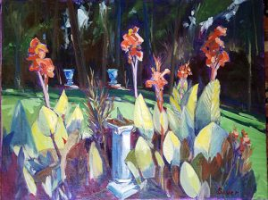 'Cannas in Blanchardville, Wisconsin' oil painting by Chuck Bauer