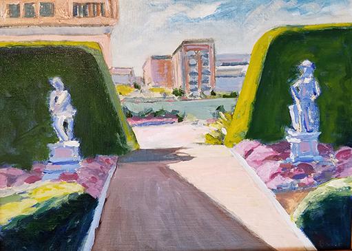 Chuck Bauer painting, Allen Centennial Gardens on UW Campus