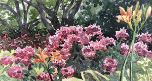 Pamela Grabber watercolor, Lilies Phlox