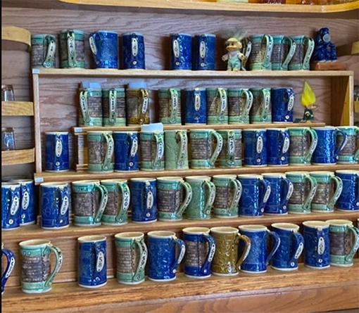 Kelley Mikel's ceramic mugs at Grumpy Troll Brewery