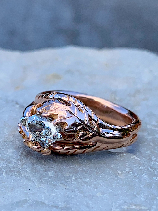 Ivy Klarer, jeweler, Rose Gold Leaf Ring