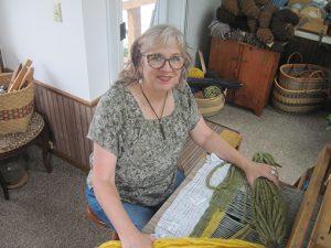 Brenda Kraemer at the loom