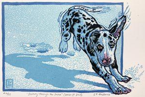 S.V. Medaris' linocut 'Dashing Through the Snow'
