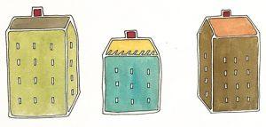 Susan Mendenhall 'Little Houses' (Detail) Watercolor