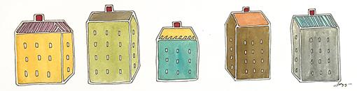 Susan Mendenhall 'Little Houses' Watercolor