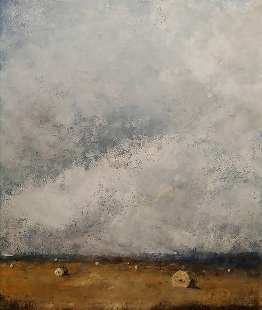 Rick Ross Cold Wax abstract landscape with hay bales