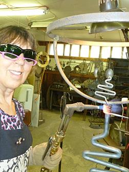 Nana Schowalter in her welding shop