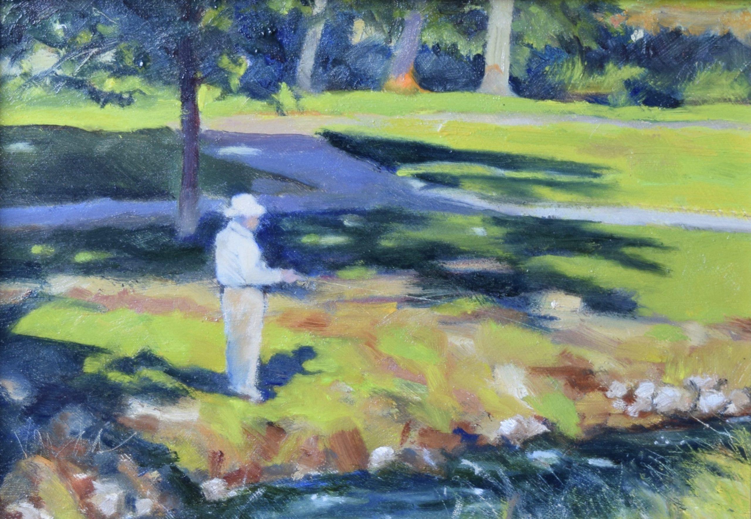 Jane Varda painting 'Peace by the Creek'