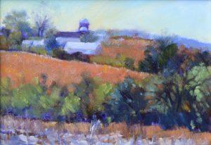Jane Varda, painting of fields and barn