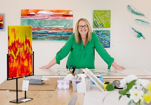 Artist Barbara Westfall in her studio