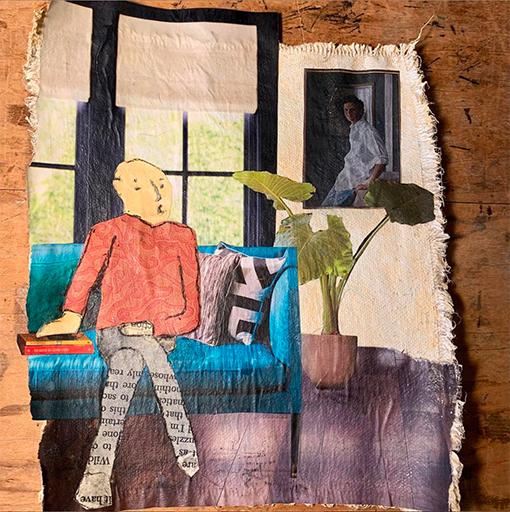 Christine Echtner 'Roderick Finishes His Reading' mixed media