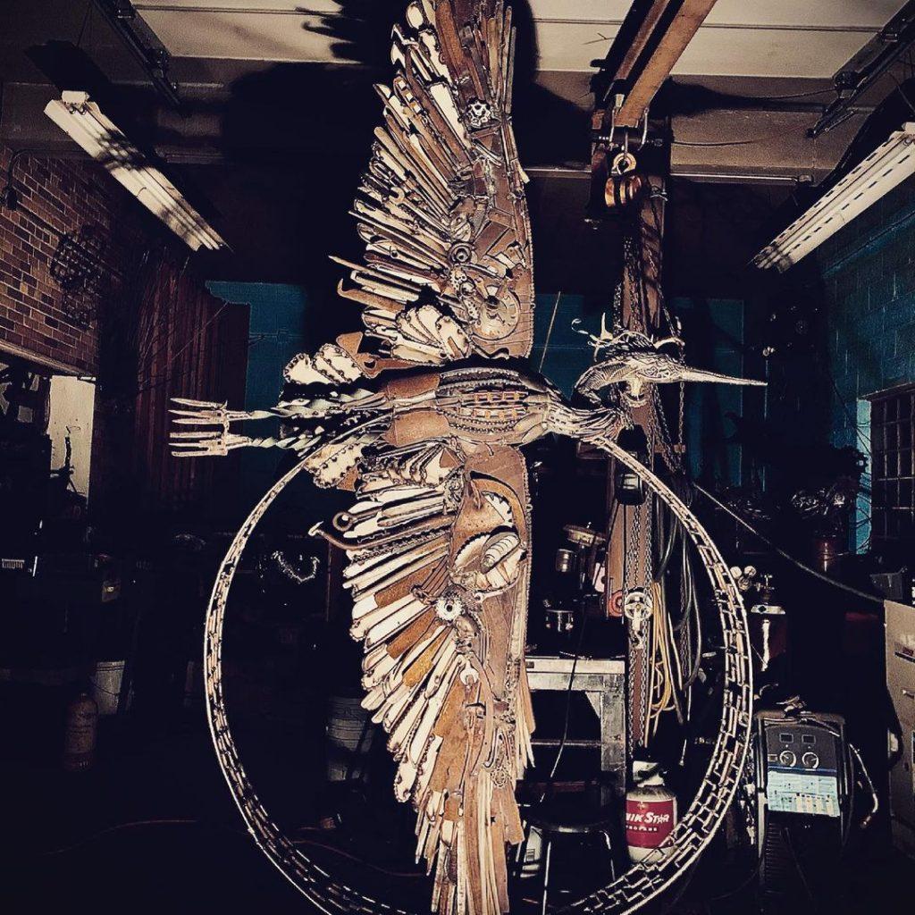 John Pahlas' metal sculpture of a heron (in studio, in progress)