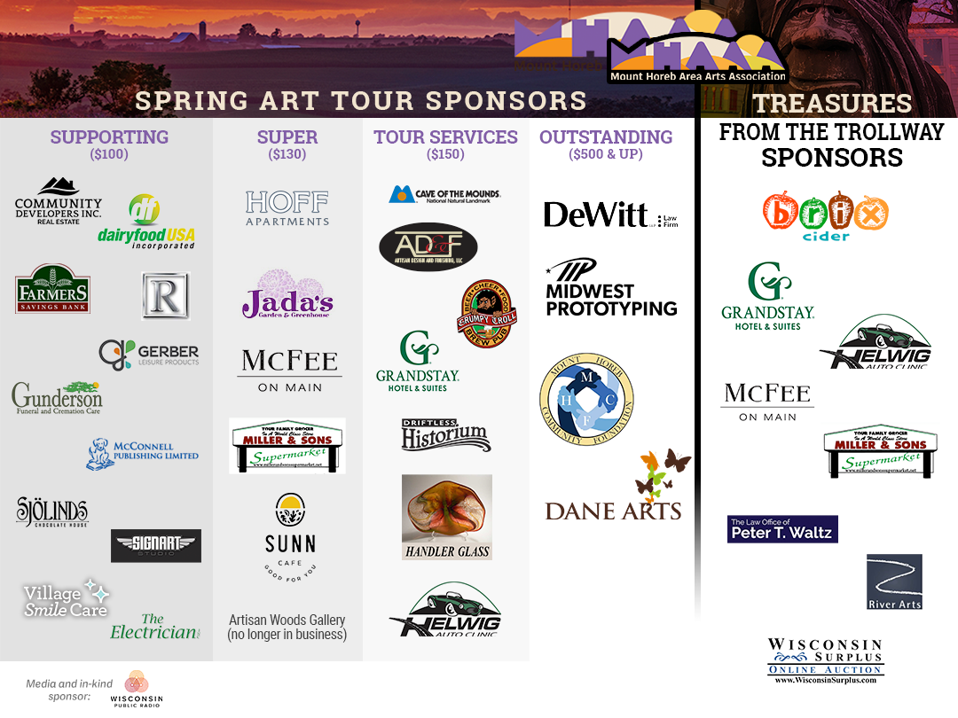 logos of Sponsors for MHAAA Spring Art Tour and Treasures from the Trollway