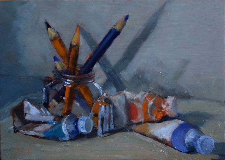 Jane Varda's oil painting, this painting of her artist's tools/medium was a demo painting