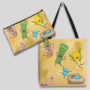 'Happy Spring' merch: tote and pouch